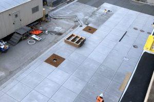 aerial shot of new mcdonalds sidewalk