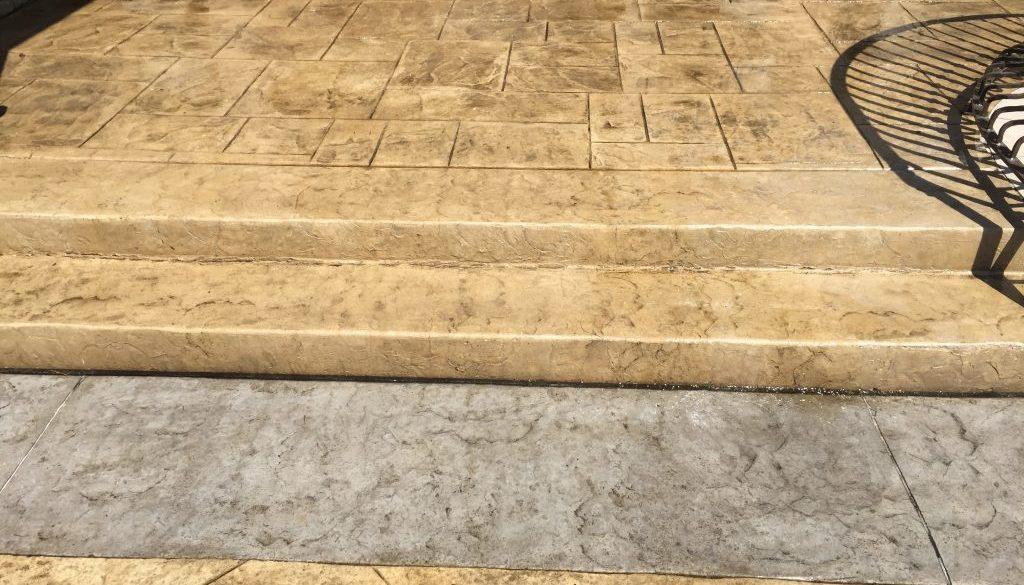stamped concrete stair installation