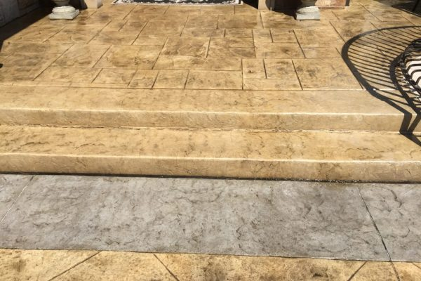 stamped concrete stair installation